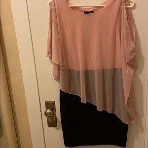 Glitter pink and black body-con drape dress